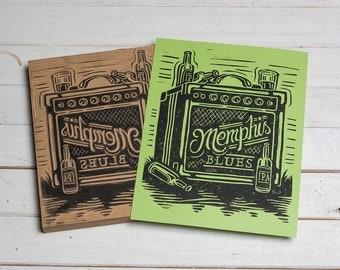 Memphis Blues - Green Block Print