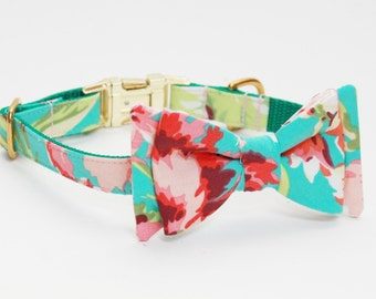Adjustable Floral Dog Collar with Bow- Teal, Peach, and Pink Dog Collar with Gold Tone Hardware