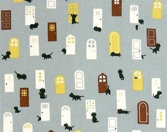 Japanese Tenugui Towel Cotton Fabric, Kawaii Black Cat & Door, Animal Art Design, Hand Dyed Fabric, Wall Art Hanging, Gift Wrapping, h058
