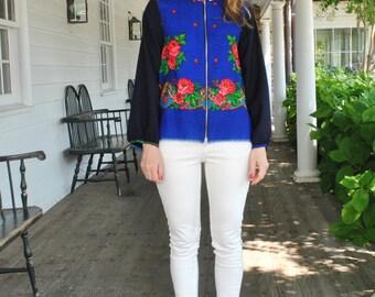Moskva- Bomber Jacket/ Floral Wool Cardigan/ Floral Bomber jacket/Wool Blouse/ Wool ethnic blazer/ Blue Navy jacket/  OOAK/ Rusteam