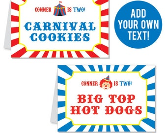 INSTANT DOWNLOAD Carnival or Circus Party Buffet Cards - EDITABLE Printable File