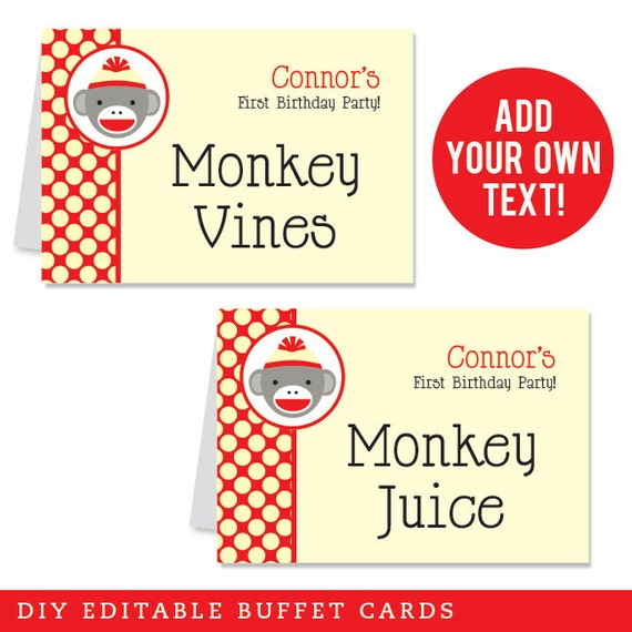 INSTANT DOWNLOAD Sock Monkey Party Buffet Cards - EDITABLE Printable File