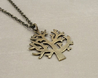Winter Tree Necklace, Bronze Winter Tree Charm on an Antique Bronze Cable Chain