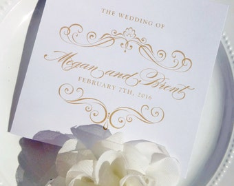 Folded Gold Wedding Programs Double Sided - Style P31 - GRACEFUL COLLECTION | wedding programs  |  ceremony program  |  programs - PRINTED