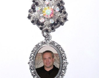 Wedding Bouquet Memorial Photo Brooch Black and Clear Iridescent Crystals - FREE SHIPPING