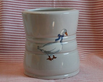 Vintage Frankoma 26C Canister, No Lid, Utensil Holder, Goose Decoration