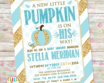 Little Pumpkin Baby Shower, Blue and Gold Invitation, Baby Shower Invite, Fall Baby Shower, Baby Boy, Autumn Baby Shower, DIY Printable