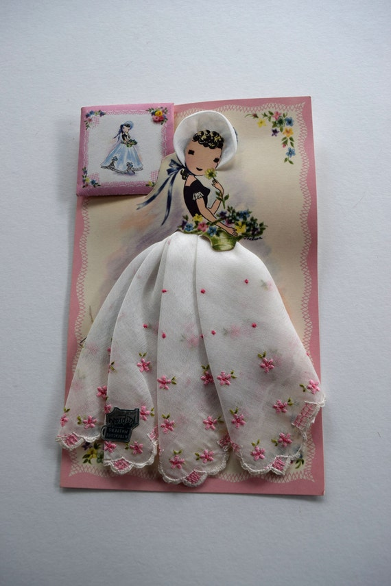 pink embroidered lady paper doll handkerchief dress treasure