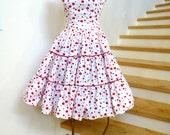 Vintage 1950's Red Polka Dot Dress, 50s Polka Dot Circle Skirt, 50s Red Polka Dot Blouse, Swing Skirt,1950s Two Piece Outfit