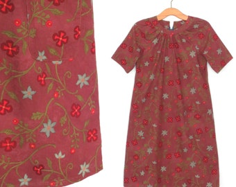 Vintage Smock Dress * Floral Shift Dress * Mini Dress * Small - Medium