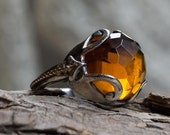 Silver Gold Ring, Gemstone ring, yellow citrine ring, boho ring, bohemian ring, gypsy ring, statement cocktail ring - Bright light - R2167
