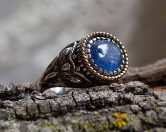 Blue kynite ring, Silver Engagement ring, silver gold ring, bohemian jewelry, ornate ring, gypsy ring, statement ring - The Storm - R2244