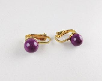 Vintage Earrings: Purple Ball Clip Ons