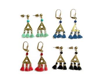 Tiny Tassel Earrings, Tassel Jewelry, Delicate Dangle Fiber Earrings