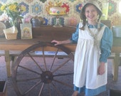 Pioneer Dress with Pinafore and Bonnet Sizes 2-14