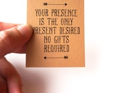 Your Presence is the Only Present Desired: No Gifts Invitation Insert - PDF PRINTABLE