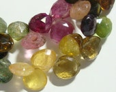 Very Pretty Faceted Tourmaline Heart Briolette, 7 Inch Strand, Large, 7-8mm, a17-1