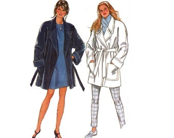 90s Lined Wrap Coat Pattern New Look 6423 Easy Jacket Pattern Size 10 - 28 UNCUT Factory Folds