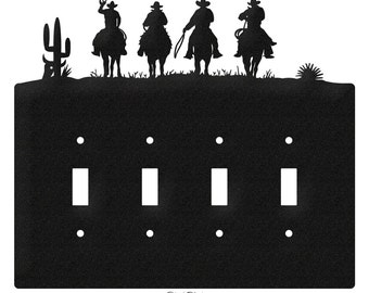 Three Cowboys Western Light Switch Quad Plate Cover