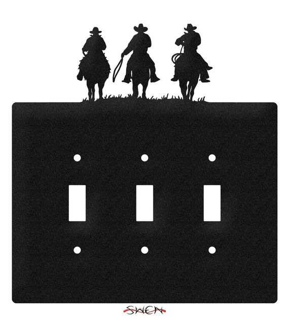 Three Cowboys Western Light Switch Triple Plate Cover