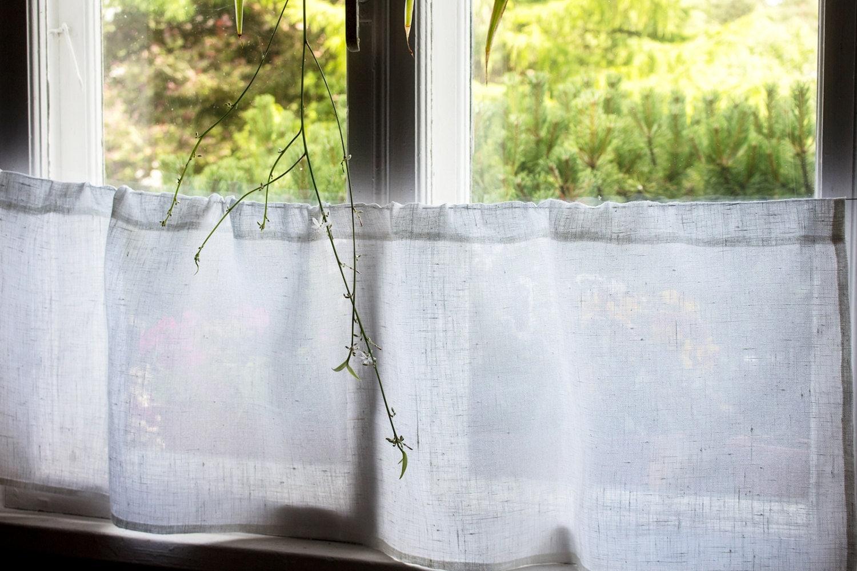White Linen Cafe Curtain Natural Kitchen Valance Handmade