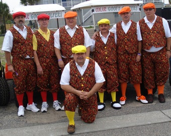 Loud and Wild Golf Knickers Pants Orange Black Flames custom made new