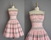 1950s dress/vintage 50s dress/ pink floral bombshell sun dress