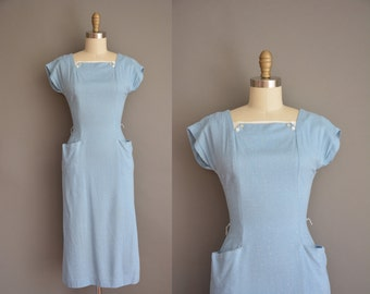 vintage 1950s dress / speckle linen wiggle dress / 50s blue dress