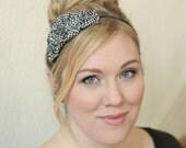 Houndstooth Headband Hair Accessories Black and White Womens Headband Boho Headband Fabric Headband Adult Headband Preppy Headband Girls