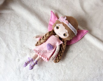 "8.5"" Tooth Fairy Felt Doll - Made to Order - Tooth Fairy Handmade Doll - Collectible doll -Gingermelon Doll"