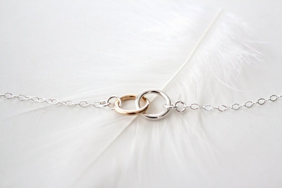 Mixed Double Ring Necklace - Eternal - Silver and Gold