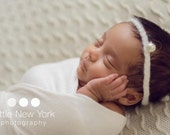 Grey or 9 colors Mohair newborn halo with big pearl