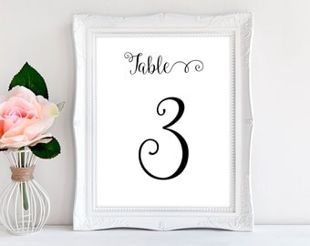 Printable Table Numbers 1-20 in Black for Wedding Reception or Dinner Party INSTANT DOWNLOAD Typography