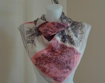 Vintage Silk Scarf, Vintage Ladies Scarf, Thirkell of Old Bond Street, Nassau Silk Scarf, 1950s Silk Scarf, Pink White Scarf