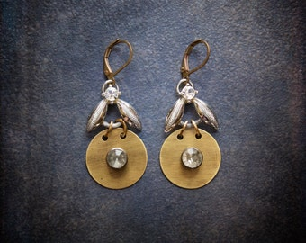 Antique Brass Disc Dangle Earrings with Silver Chevron Links and Vintage Rhinestones