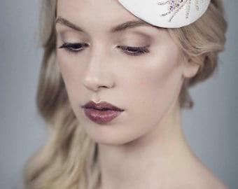 Silver Rhinestone Fern Fascinator, Silk Bridal Hat, Ivory Wedding Headpiece - Fern