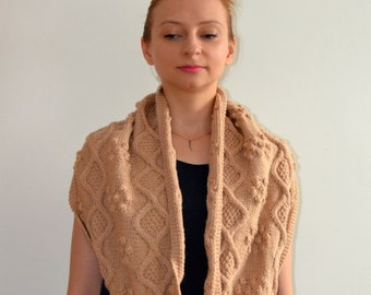 READY TO SHIP Hand Knitted Beige Wool Circular Infinity Scarf Cables
