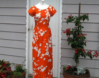 Maxi Dress Vintage Hawaiian Holoku With Train Tangerine Orange White Sweet William Flowers Kimo's Polynesian Shop Size 12 Maxi