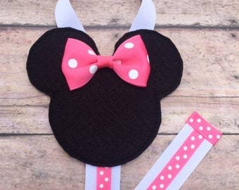 Mouse with a Pink Bow Hair Clip Holder, Pink Minnie Mouse Hair Bow Holder, Girls Hair Clip Organizer, Pink and Black Minnie Hair Clip Holder
