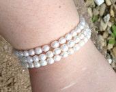 Fresh water pearl bracelet on memory wire