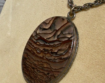 Landscape Agate Pendant Sterling Silver Picture Jasper Storm Clouds Antique Victorian Brown Gray Fall Autumn