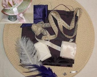 Bonnet Kit- DIY- Purple and Ivory- Regency, Georgian, Jane Austen Era Bonnet