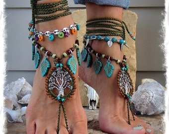 Beaded ANCIENT TREE barefoot jewelry Turquoise Leaf Olive Green foot jewelry crochet sandal Naturalist Garden Wedding Tree Hugger GPyoga