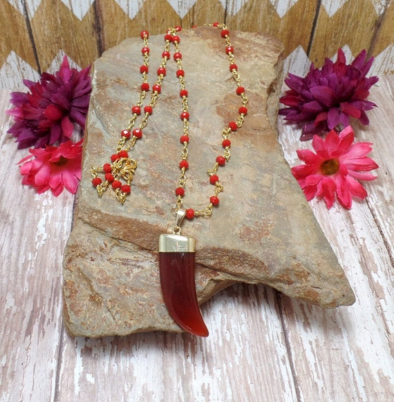 Red Agate Horn Necklace - Agate Claw Necklace - Claw Necklace - Horn Necklace - Free US Shipping