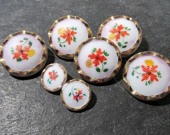 Hand Painted White Glass Buttons West Germany VINTAGE Buttons Seven (7) White Glass Gold Vintage Buttons Jewelry Sewing Supplies (L87)