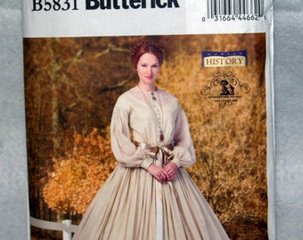 Pattern Civil War Dress and Petticoat 16-24 historical Butterick B5831 colonial day UNCUT