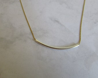 Gold Necklace, Silver Bar Necklace, Gold Necklace with Silver Bar, Silver and Gold Necklace, Minimalist Jewelry, Curved Bar Charm