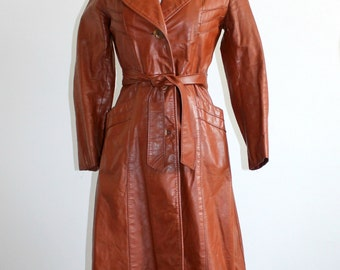 Long Brown Leather Chevron Trench Coat XS