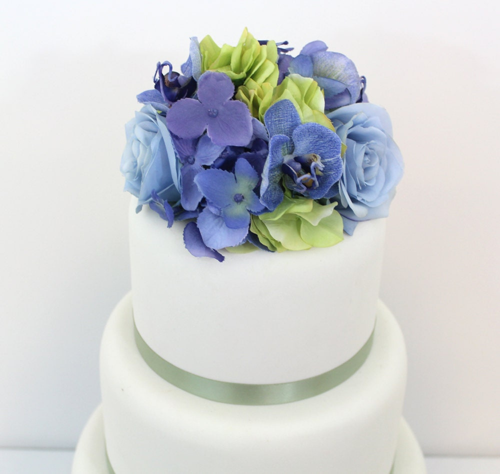 Flower Cake Toppers For Weddings: Wedding Cake Topper Green Periwinkle Hydrangea Blue Rose
