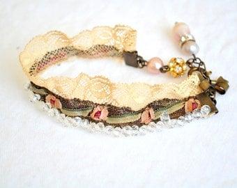 Vintage inspired beaded bracelet/Victorian lace/Metallic rosette trim/Art deco/Clear beads/Flapper/Pearls/Ribbonwork
